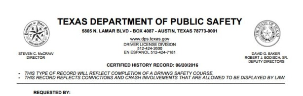 how to get your texas driving record: it's required for texas